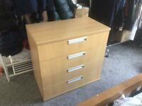 Beech effect chest of drawers, heavy, good condition