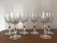 6 Edinburgh Crystal Small Wine / Port / Sherry Glasses