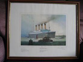 R.M.S. TITANIC Limited Edition Colour Print, Signed By Survivor and Marine Artist 1981 - Superb!