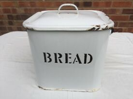 Genuine Vintage Black & White Enamel Bread Bin circa 1950's