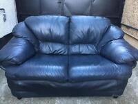 Black leather 2 seater sofa •free delivery