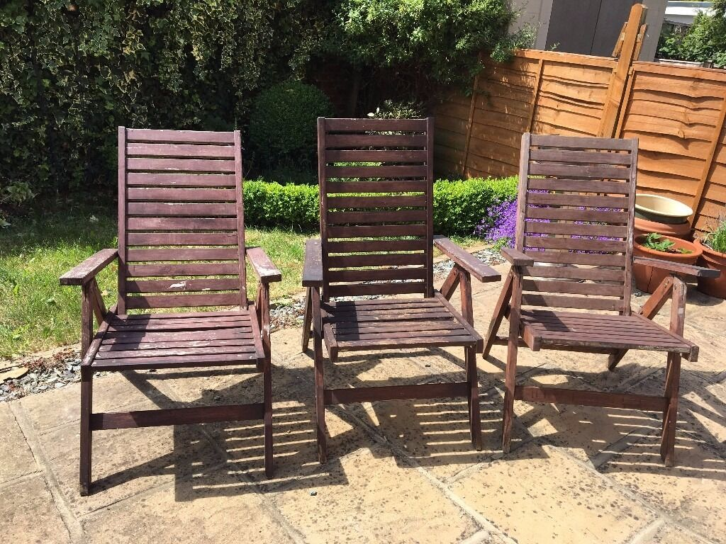 3 foldable reclining wooden garden chairs ikea applaro for Outdoor furniture gumtree