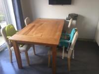 Solid hard wood table and chairs