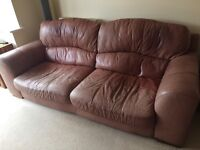 large 3 leather 3 seater settee, arm chair and matching foot stool