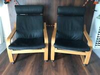 Pair of black leather Ikea poang chairs. As new