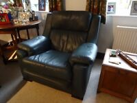 Pair of beautiful green leather arm chairs, excellent condition