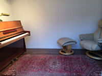 Piano practice room mini studio available North London suburbs cheap £8ph quality Bluthner upright