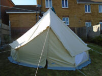 Canvas and Cast 4m circular bell tent with half moon coir matting and weather fly-sheet to door