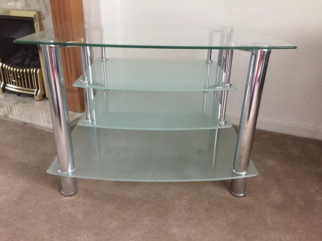 Suspended Shelves glass tv stand with suspended shelves and side table | in east