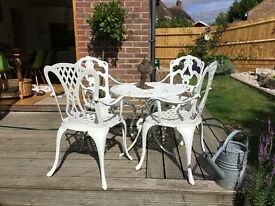 Metal garden table and 2 chairs