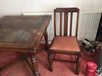 Old wooden dining table and 4 chairs for sale