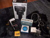 Box of vintage camera accessories