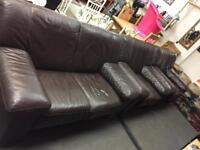 Large Leather Brown 2+1+1 Sofa