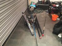Two fishing rods, Two reels, Fishing net, two tubes for rods, fishing pole and fishing box