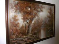 Vintage oil painting of a Woodland Landscape in Autumn
