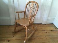 Vintage Childrens / Teddy Bears Wheel Back Rocking Chair Worn & Lovely