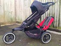 Phil & Teds double pushchair with accessories