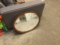 Retro Vintage Wooden Oval Mirror