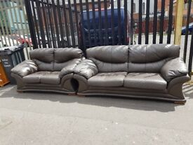 Leather sofa 3 and 2 in brown
