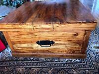 Beautiful wooden trunk coffee table with storage