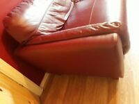 VGC 3 SEATER DEEP RED LEATHER SOFA