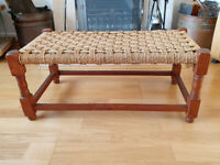 Vintage Mid Century Weave Small Long Stool / Bench