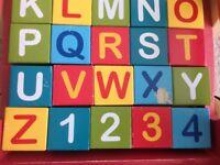 Wooden Walker with Alphabet & Number Blocks