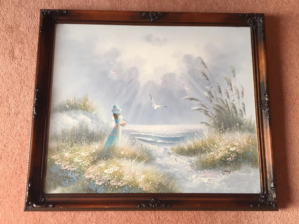 4 canvas oil paintings with walnut swept frames | in Kilkeel, County ...
