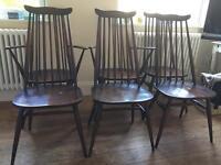 Ercol dining chair set 6 retro dark elm whale back