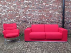 Red Contemporary Designer Sofa & Armchair. RRP £3000