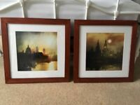 2 x London prints, mounted & framed, 47 x 47cm square