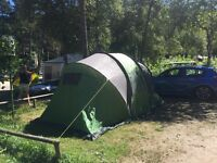 6 man tent, camping table and chairs