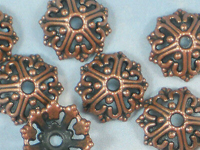 Design Bali Bead - 16 Bead Caps Wire Heart Open Design 14mm Copper Tone Bali Style #P473