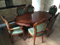 dining table with 6 chairs including 2 carver style chairs