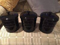 Gloss black storage jars for sale