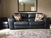 Black Leather Sofa 2 Seater and 3 Seater Black Italian Leather Suite Two Seater Three Seater