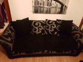 3 seater cushion back sofa black/grey