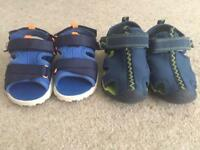 2 pairs of young boys summers slip ons (Sainsbury's) size 8 UK (toddler)