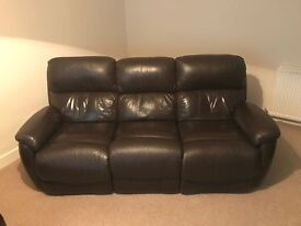 2 x brown, 3 seater, real leather sofas