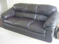 Two identical 3 Seater Dark Brown leather Sofas good condition - will sell separately