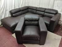 Brown leather left handed corner sofa