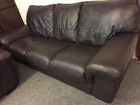 Harveys luxury 3 & 1 brown full leather sofa set - can deliver