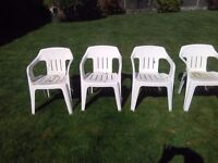 4 Plastic Garden Chairs