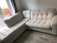 Cream corner chaise long sofa bed