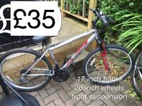 Selection of Gents Mountain Bikes from £25 - £50 Gents or boys hardtail mountain bike male
