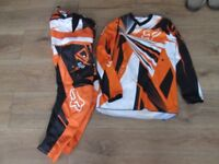 kids motocross clothing, padded trousers size 26 and top YL suit around age 8-10 years