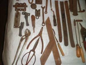 Large range of antique tools ,hinges, sell as bundle $65