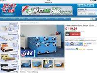 Brand New Single Sport Divan Bed with Mattress