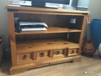 Large solids pine tv unit cabinet
