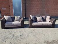 Superb brown and beige sofa suite. 3 and 2 seater sofas. 1 month old. clean. can deliver